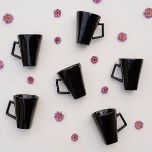 Set of 6 Pier 1 Quadrado Nara Black Beveled Mugs